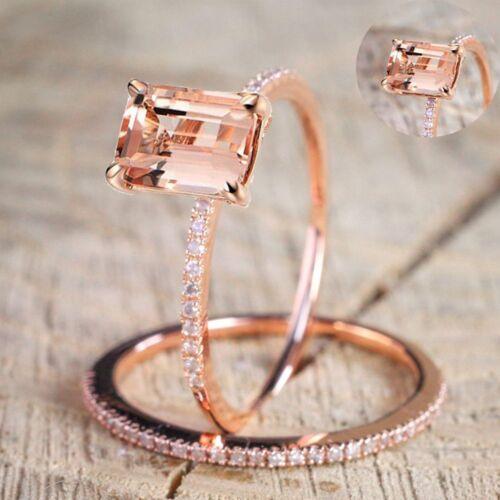 Anillo 18K Oro Rosa Lleno de compromiso boda de topacio blanco talla 6-10 2Pcs Conjunto de Regalo