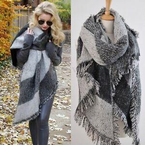 0f9fabc7e9ab1 UK Winter Women Large Wool Cashmere Warm Soft Scarf Shawl Plaid ...