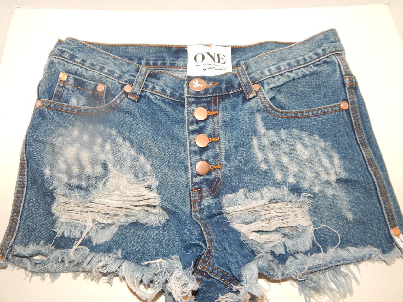 ONE by One Teaspoon Womens Distressed Denim Shorts Button Fly Medium Wash Sz 27