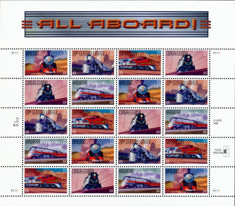 1999 33c All Aboard, Trains, Sheet of 20 Scott 3333-37