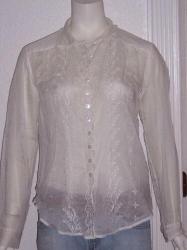 DKNY EMBROIDERED SHEAR BUTTON FRONT WHITE BLOUSE T