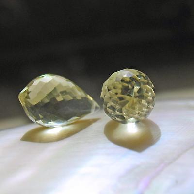 2 lemon quarz chandelier tropfen, facettiert, kalibriert, gebohrt, 14x8mm