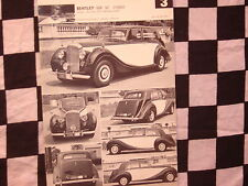"rare BENTLEY MK VI  1950 / fiche cartonnée années ""60"""