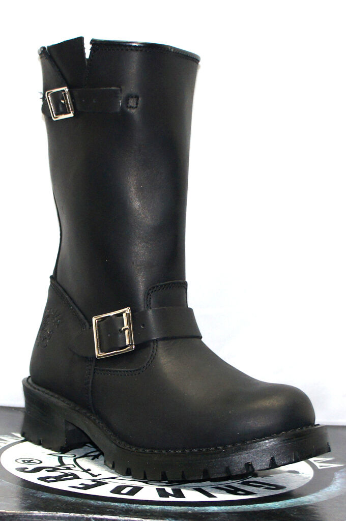Grinders Mens Black Engineer Style Biker Boots Turbo western Leather Boots shoes