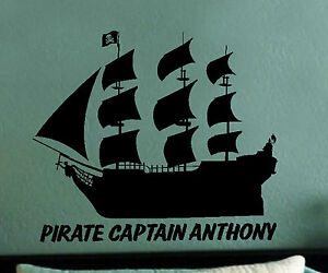 BLACK-PEARL-PIRATE-SHIP-Personalized-Vinyl-Wall-Art-Decal-Decor-kids-bed-room