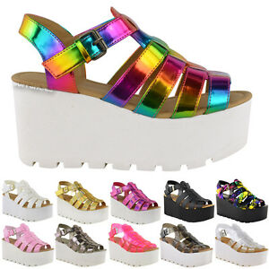 WOMENS-LADIES-CHUNKY-GLADIATOR-STRAPPY-SANDALS-WEDGES-PLATFORM-SHOES-SIZE