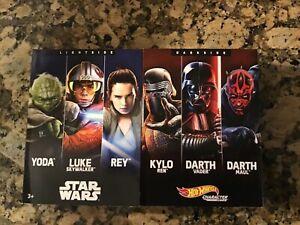 Star Wars Hot Wheels Character Cars Light Side vs Dark Side 6-Pack