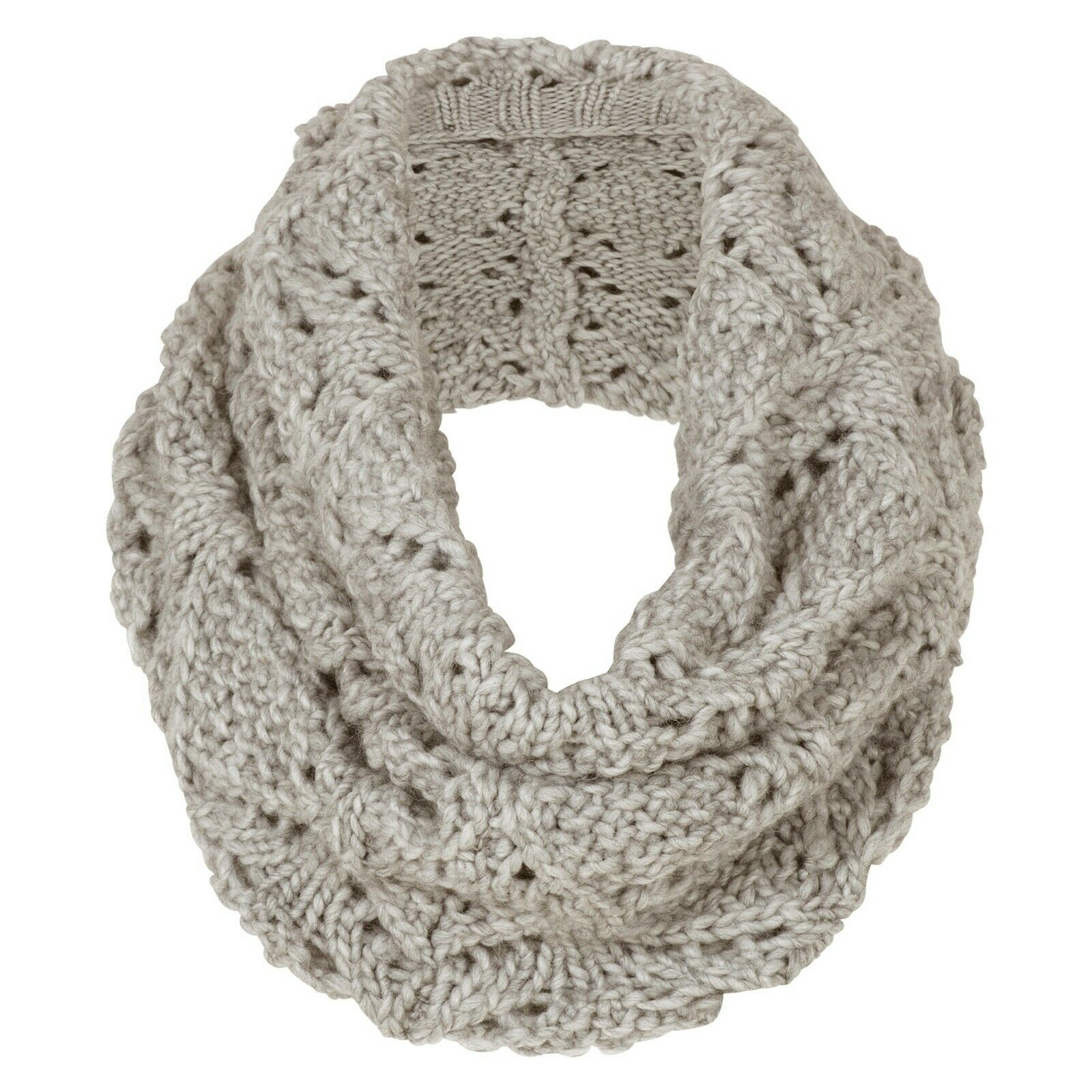 Aran Traditions Womans Ladies Winter Warm Knitted Style Cable Snood Oatmeal Marl