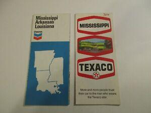 Lot of 2 Chevron & Texaco Arkansas Louisiana Mississippi Road Maps~Box L7