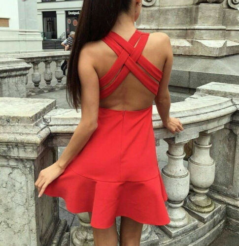 Dress Back Open Rosso Woman Backless Sexy Cross Zara Red Over Skater SEzwP8f
