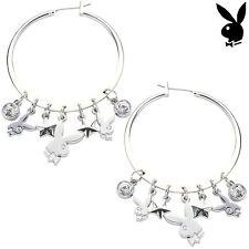 Playboy Earrings Hoop Swarovski Crystal Silver Plated Jewelry Bunny Star 42