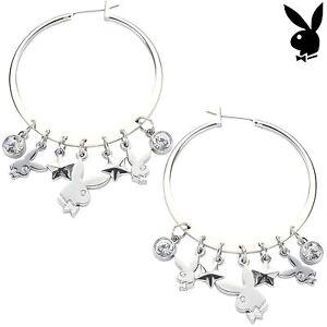 Playboy-Earrings-Hoop-Bunny-Star-Charms-Swarovski-Crystal-Silver-Plated-Hoops