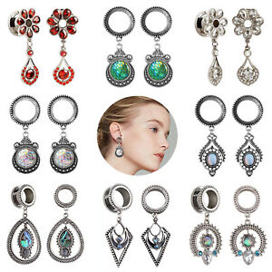 2x-Stainless-Steel-Dangle-Ear-Gauges-Ear-Plug-Tunnel-Earring-Stretching-Expander