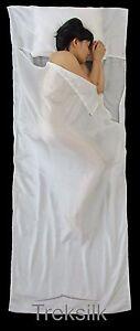 Treksilk-240-cm-WHITE-100-Mulberry-Silk-Single-Sleeping-Bag-Liner-Travel-Sheet