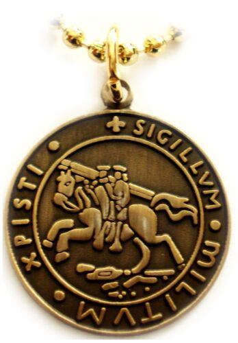 Knights Templar Crusader Seal croisés Collier Pendentif Avec Balle Chaîne