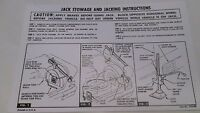 1958 Chevy Impala, Belair Or Biscayne Jacking Instruction Decal Free Shipping