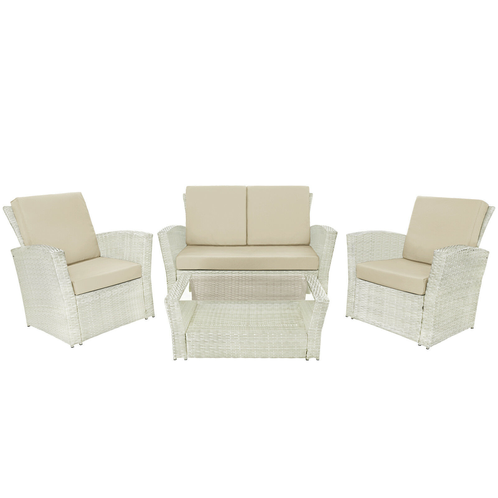 10-tlg Polyrattan Sitzgruppe Gartengarnitur Gartenmöbel Essgruppe - Farbe Farbe Farbe  Weiß 2886e3