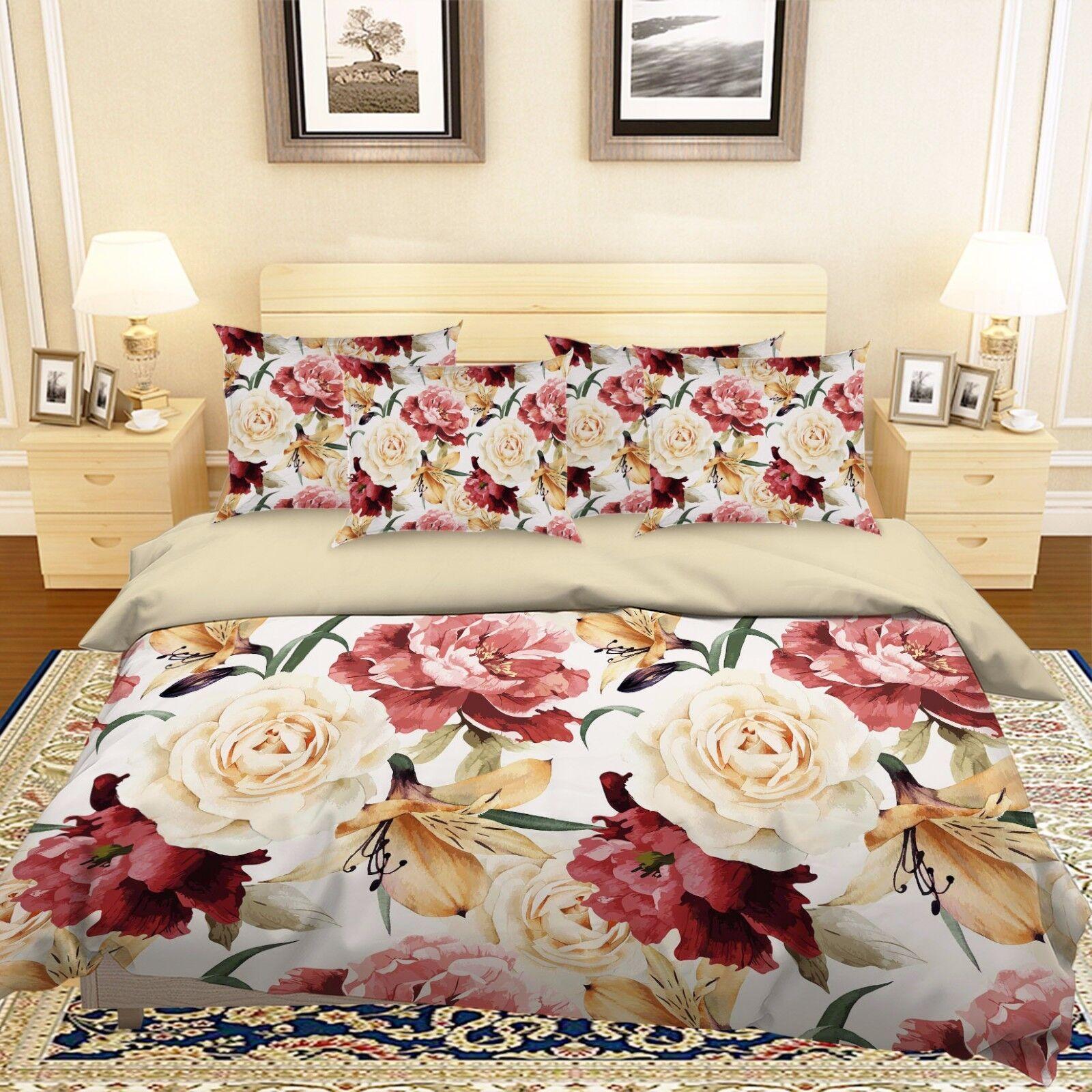 3D Flowers 315 Bed Pillowcases Quilt Duvet Cover Set Single Queen King Größe AU