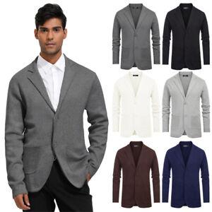 Pyjama-Long-pour-Hommes-Manche-Pull-Manteau-Affaires-Fete-Veste-Revers-Col-Knit