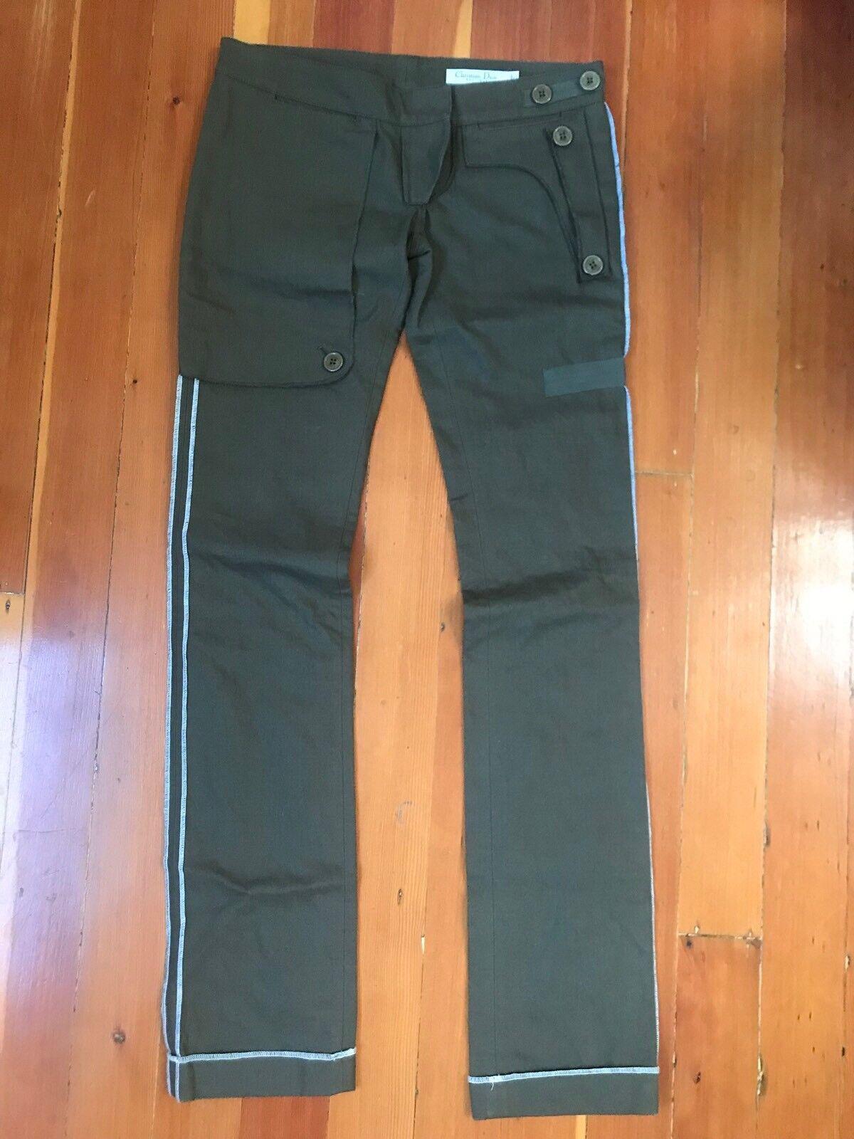 Auth. christian dior paris khaki green cotton pants XS 2 US 38 ITALY