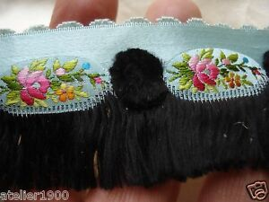 "antique victorian ballgown silk ribbon trim tiny pink roses + fringe 18"" x 1 1/2"