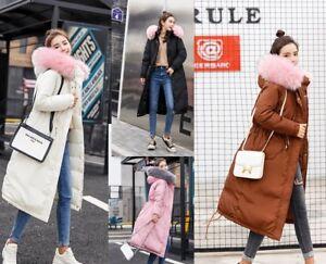 Women-039-s-Winter-Down-Cotton-Outwear-Jacket-Fur-Hooded-Warm-Long-Parka-Coat