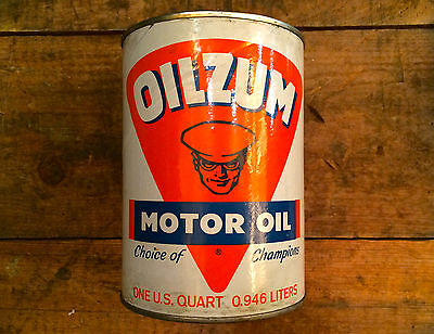 VINTAGE NOS OILZUM 70 WT OIL CAN Motorcycle Collectible Antique Harley Indian