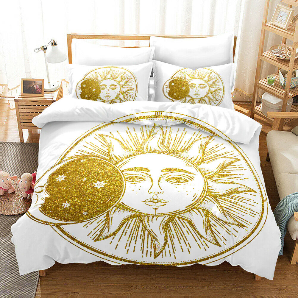 3D Gilding Sun Flower Quilt Startseite Set Bettding Duvet Startseite Single Königin König 33