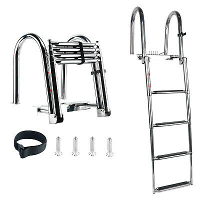 Rear Entry Ladder w// Wide 4 Steps Folding Rear Entry Pontoon Boat Ladder