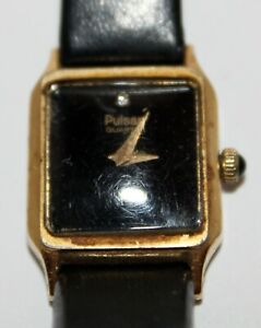 Pulsar Vintage quartz ladies wrist watch Black dial diamond used gold coloured f