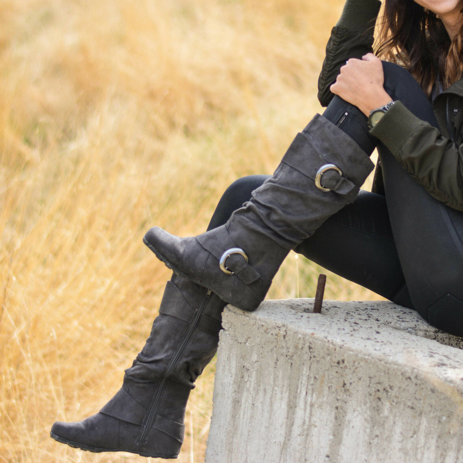 Brinley Co. Women's Buckle Accent Slouchy Slouchy Slouchy Mid-Calf Boots f8ea26