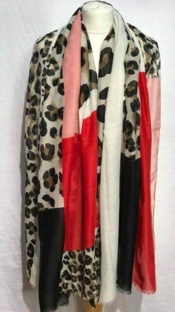 New Leopard Print Scarf Black Red Shawl Ladies Womens Stole Blanket Wrap Animal