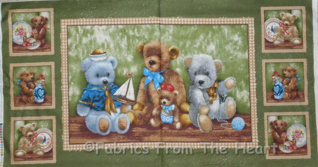 "Teddy Bear Hugs Sailboats Yarn on Green 23"" Panel Wallhanging SPX Cotton Fabric"
