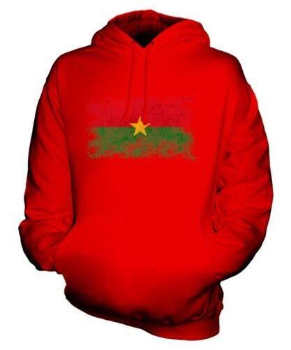 BURKINA FASO DISTRESSED FLAG UNISEX HOODIE TOP BURKINABE FOOTBALL GIFT