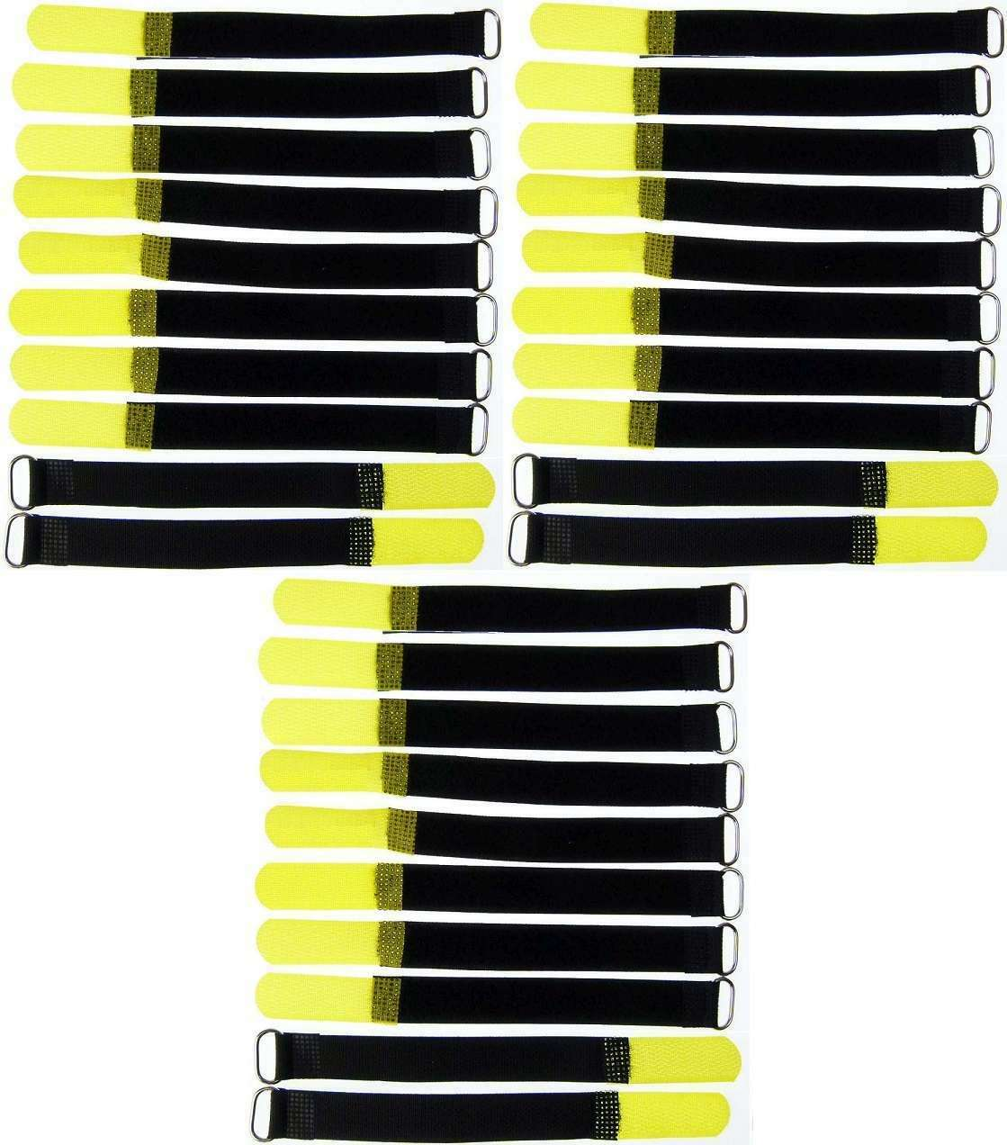 30 x Velcro Cable Ties 16 cm x 16 MM Yellow Velcro Bands Velcro Cable Metal Eyelet