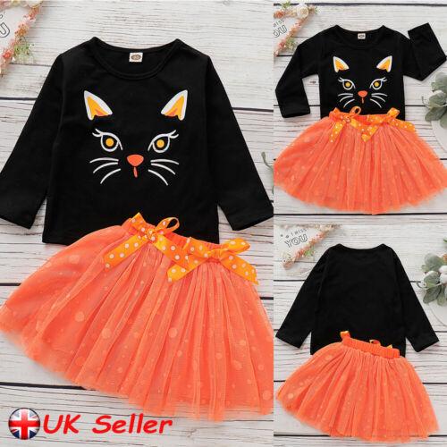 Kids Child Girls Party Outfits Cartoon Cat Tops T-shirt Tutu Skirt Clothes Set