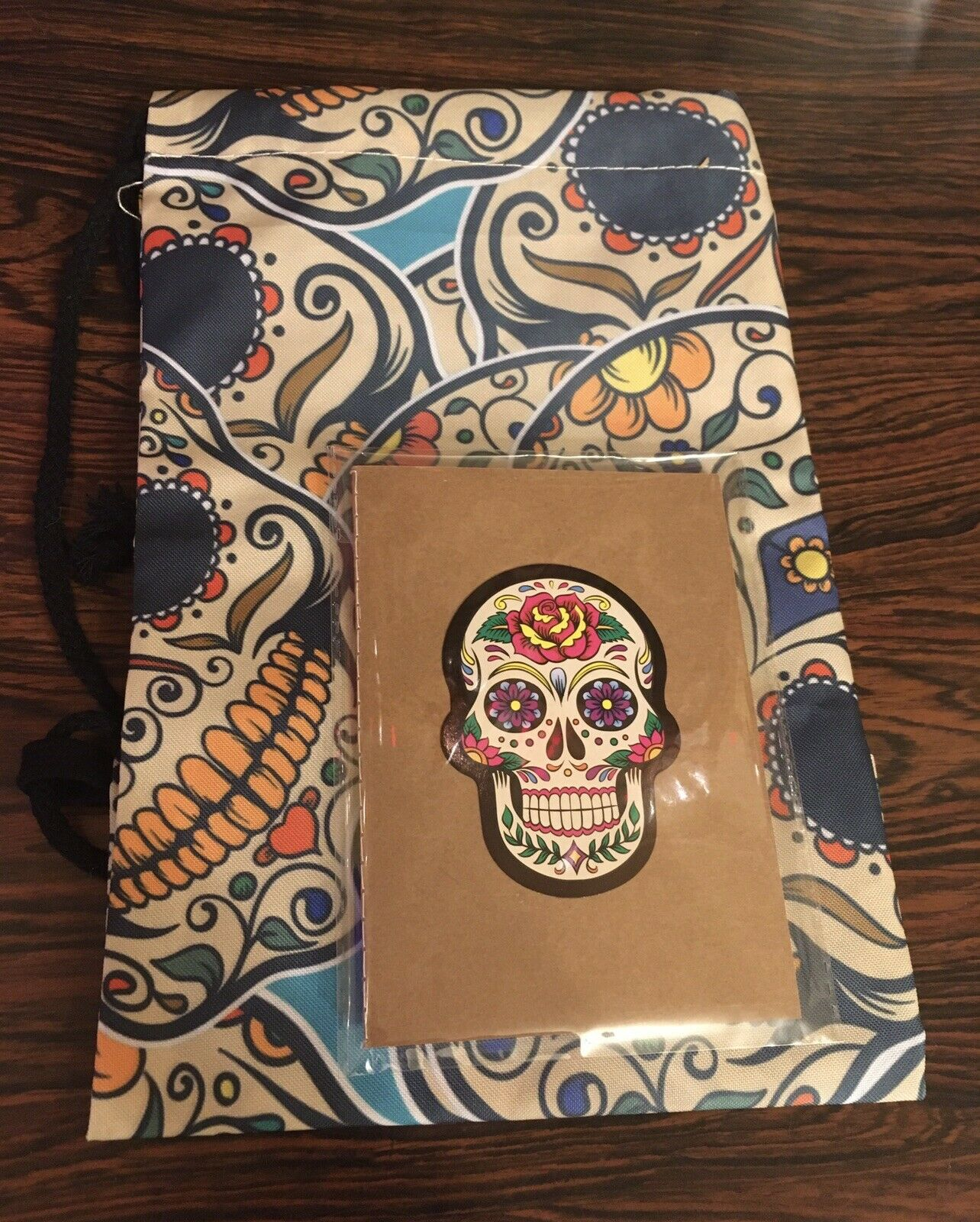 Sugar Skull Drawstring Backpack Bag +A6 Notebook Goth Rockabilly 2pc Gift Set