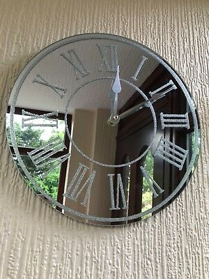 Silver Sparkle Glitter Mirrored Wall Clock Roman Number