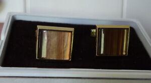 Paire anciens boutons de manchette métal doré et  plaque marron nacré vintage 70