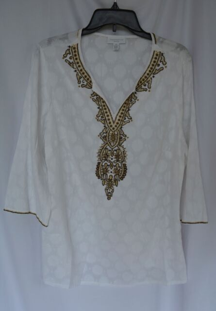 06f6c1c617a New Charter Club Women s Size 0X White Cotton Beaded Detailed V-Neck Blouse