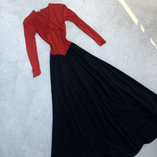 Vintage 1930s 40s Red & Black Colorblock Silk Jers