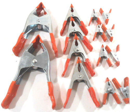 """LOT OF 14 ASSORTED METAL SPRING CLAMPS 2-6/"""" INCH,4-4/"""" INCH,8-2/"""" INCH"""