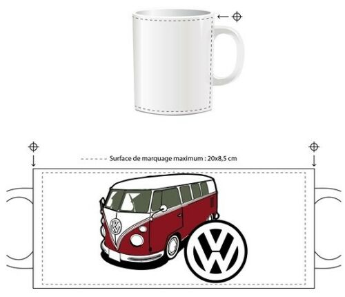 VOLKSWAGEN COMBI TRANSPORTER SPLIT WINDOW T1 VW TASSE ceramique MUG COFFEE NOEL
