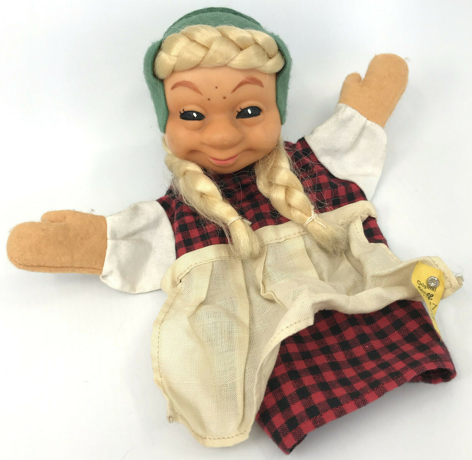 Steiff Gretel He Puppet Puppet Puppet Country Girl ID Button Tag 1970s Vinyl Fabric Vintage 904739