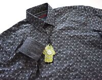 Visconti Black Gray Textured Check Long Sleeve Button Front Sport Shirt