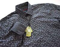 Visconti Black Gray Textured Check Long Sleeve Button Front Sport Shirt