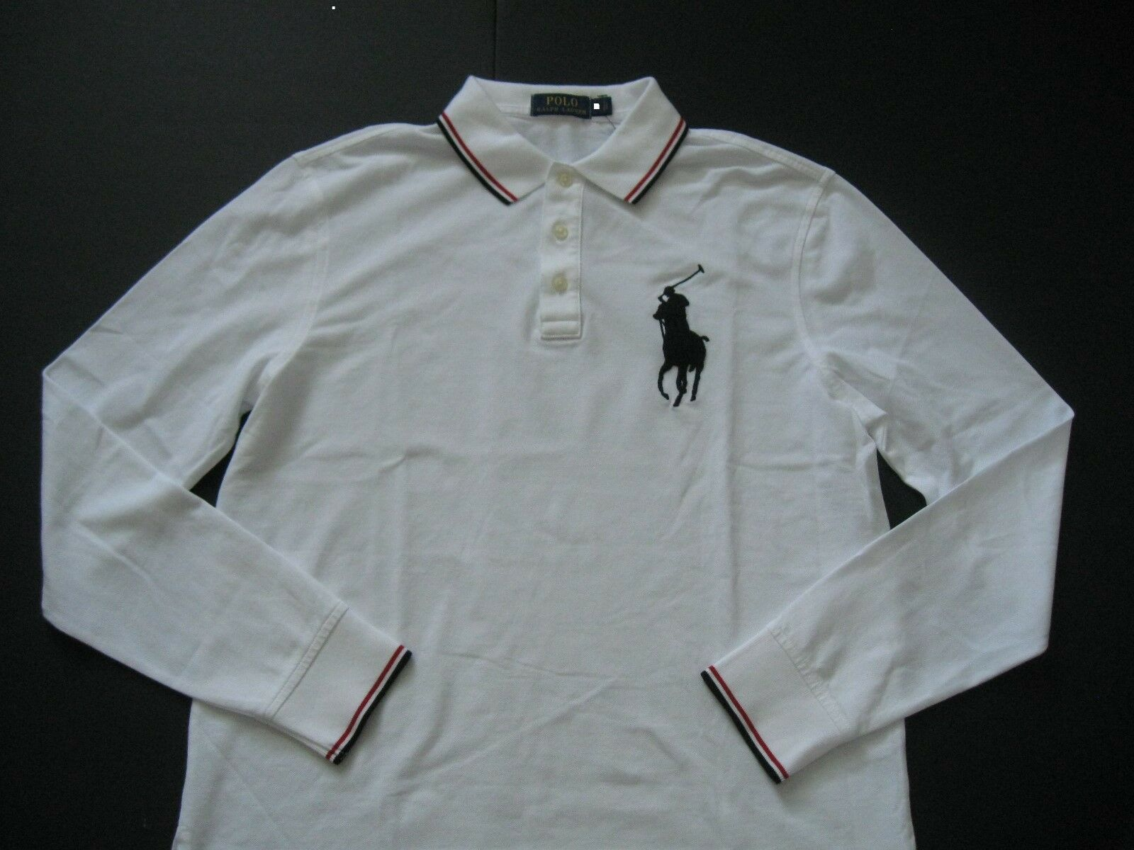 POLO RALPH LAUREN Men's White Relaxed-Fit Long-Sleeved Big Pony Mesh POLO M