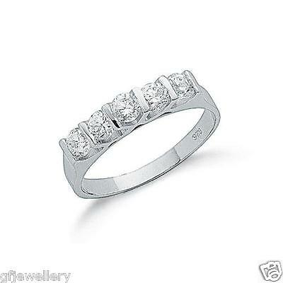 RHODIUM PLATED 925 HALLMARKED STERLING SILVER 5 STONE HALF ETERNITY RING