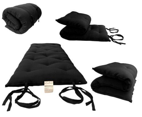 Sleepover Cotton Pads 3x60x80 Black Queen Size Floor Rolling Futon Mattresses