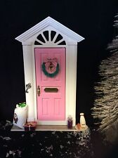 Pink Christmas Handmade Elf Santa Fairy Door Can be Personalised with Number